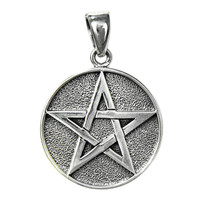 Sterling Silver Double Sided Yin Yang Pentacle Pentagram Pendant Jewelry