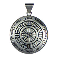 Large Sterling Silver Wheel Of The Year Wiccan Pagan Pendant Jewelry