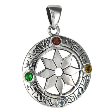 Sterling Silver Zodiac Wheel of the Year Pendant Jewelry