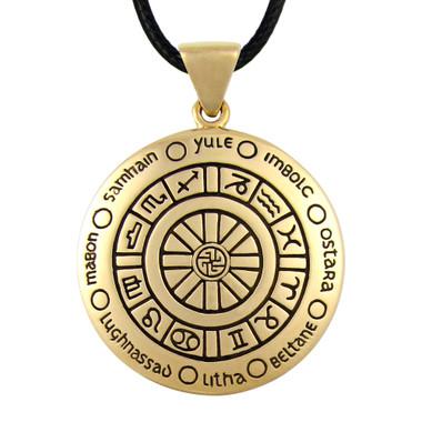 Bronze wheel of the year pendant wicca pagan jewelry for men or women bronze wheel of the year pendant aloadofball Choice Image