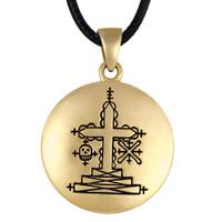 Bronze Papa Ghede Voodoo Veve Pendant Necklace