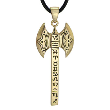 Bronze Celestial Axe Pendant with Zodiac Symbols