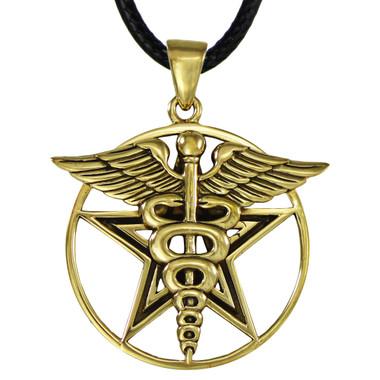 Bronze Caduceus Pentagram Pentacle Pendant Pagan Healers Jewelry
