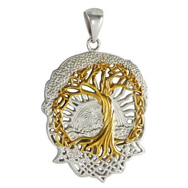 Sterling Silver Celtic Knot World Tree of Life Symbol Pendant with Gold Vermeil