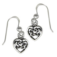 Sterling Silver Hidden Pentacle Celtic Knot Heart Earrings