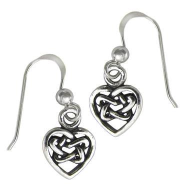 Sterling Silver Hidden Pentacle Celtic Knot Heart Earrings