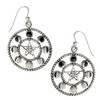 Large Sterling Silver Pentacle Pentagram Moon Phase Dangle Earrings
