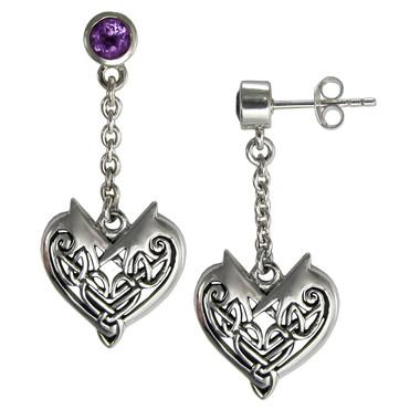 Sterling Silver Celtic Heart Dangle Earrings with Amethyst