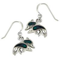 Sterling Silver Blue Dolphin Dangle Earrings with Lustrous Blue Enamel