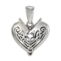 Small Sterling Silver Celtic Knotwork Heart Pendant Love Knot Jewelry