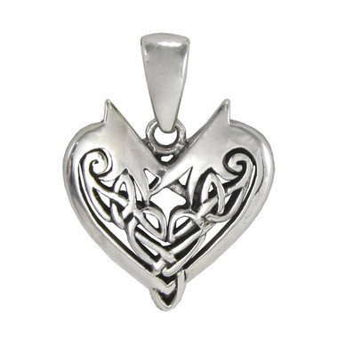Small sterling silver celtic knotwork heart pendant love knot jewelry aloadofball Images