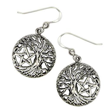 Tree Of Life Yggdrasil Pentacle Pentagram Earrings Wiccan Pagan Jewelry