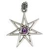 Sterling Silver Septagram Heptagram Faery Star Pendant Jewelry with Amethyst Gemstone