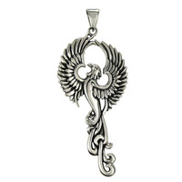 Sterling Silver Rise of the Phoenix Pendant Jewelry Symbol of Eternity and Immortality
