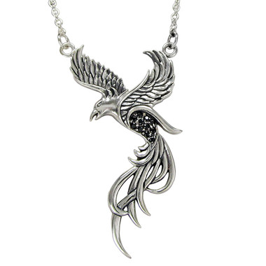 Sterling Silver Phoenix In Flight 18 Inch Necklace Pendant