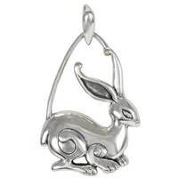 Sterling Silver Rabbit Pendant Jewelry Symbol of Prosperity and Fertility