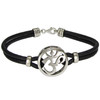 Sterling Silver Aum Om Symbol Bracelet with Genuine Leather