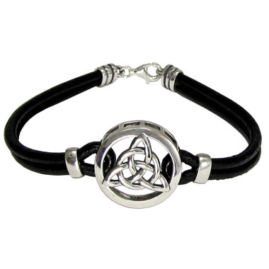Sterling Silver Celtic Knot Triquetra Bracelet with Genuine Leather
