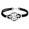 Sterling Silver Pentacle Pentagram Bracelet with Genuine Leather Strand