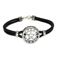 Sterling Silver Moon Phases Pentacle Pentagram Bracelet with Genuine Leather Strand