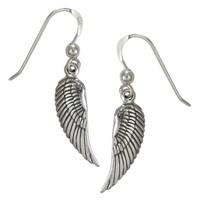 Sterling Silver Angel Wings Feather Dangle Earrings Jewelry