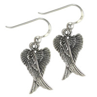 Sterling Silver Folded Angel Wings Dangle Earrings