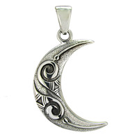 Large Celtic Knot Sterling Silver Crescent Moon Pendant