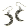 Sterling Silver Ornate Celtic Knot Crescent Moon Earrings