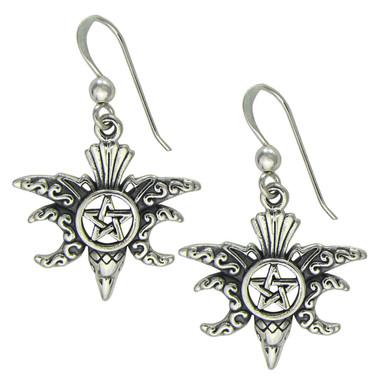 Sterling Silver Moon Phase Raven Pentacle Earrings