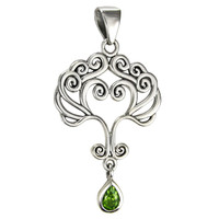 Sterling Silver Love Knot Tree of Life Heart Pendant with Peridot