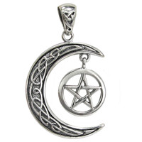 Sterling Silver Celtic Knotwork Crescent Moon Pentagram Pendant