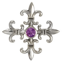 Sterling Silver Croix La Mere Cross Pendant with Amethyst
