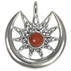 Sterling Silver Sun Burst and Crescent Moon with Goldstone