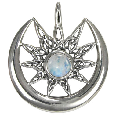 Sterling Silver Sun Burst and Crescent Moon with Rainbow Moonstone