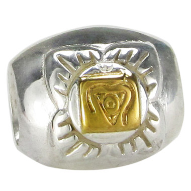Sterling Silver Muladhara Root Chakra Bead with Gold Accents
