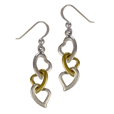 Sterling Silver Interwoven Chain of Hearts Earrings