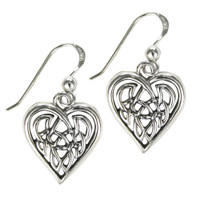 Sterling Silver Celtic Knot Heart Love Earrings