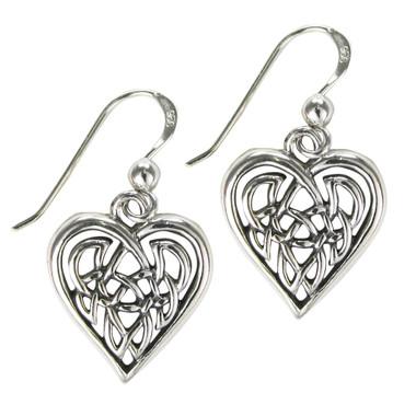 Sterling Silver Celtic Knot Heart Love Earrings