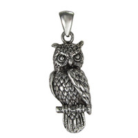 Sterling Silver Owl Pendant Symbol of Wisdom Jewelry