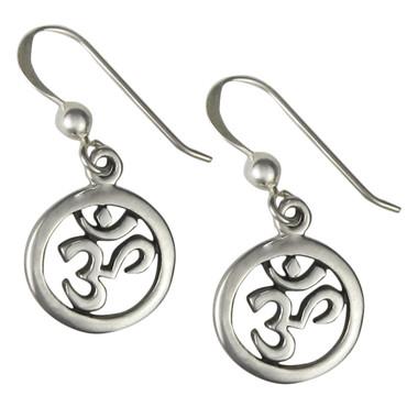 Sterling Silver AUM Symbol Earrings Om Jewelry