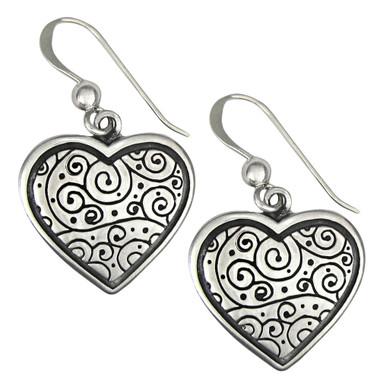 Sterling Silver Spiral Heart Earrings
