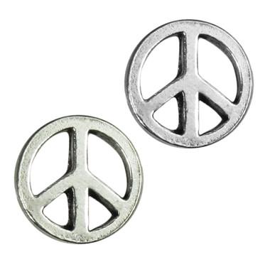 Sterling Silver Peace Sign Stud Earrings