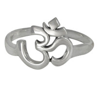Sterling Silver Aum Om Symbol Hindu Ring