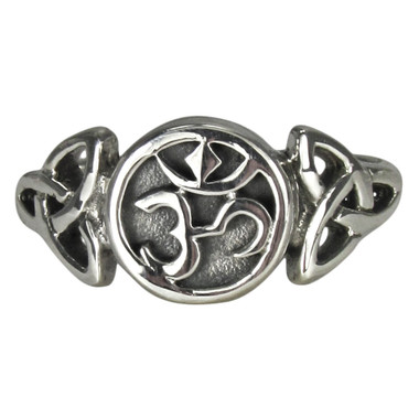Sterling Silver Aum Symbol with Celtic Triquetra Ring ...