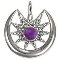 Sterling Silver Sun Burst and Crescent Moon with Amethyst