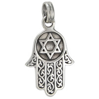 Sterling Silver Hamsa Hamesh Jewish Star of David Protection Talisman Pendant