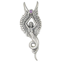 Sterling Silver Melusine Pendant with Natural Amethyst
