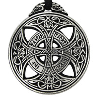 Large Celtic Knot Love Rune Pewter Pendant Necklace