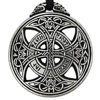 Large Celtic Knot Love Rune Pewter Pendant Necklace