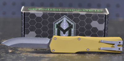 """Heretic Knives Cleric Clip Point OTF Automatic Knife Tan Handle, 3.5"""" Stonewash Blade"""